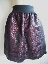 PIED A TERRE DARK RED & BLACK JACQUARD LOOK SKIRT SIZE 12  BNWOT