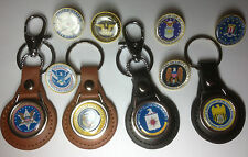 US GOVT. AGENCY  LEATHER KEY RINGS & GOLD PLATED BADGES: OVER 60 DESIGNS