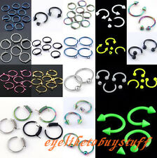 10/50/100pc Stainless Steel Eyebrow Nose Nipple Circle Hoop Ear Ring Piercing