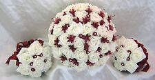 Wedding Flowers Ivory Rose Crystal Bouquet, Bride, Bridesmaid, Wands Burgundy