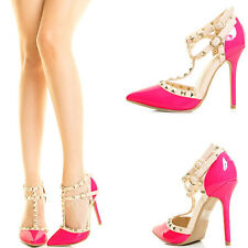 Neon Fuchsia Hot Pink Pointy Toe Stud Ankle T Strap Stiletto Heel Pump Sandal US