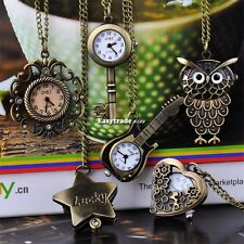 Vintage Antique Cute Bronze Steampunk Quartz Necklace Pendant Chain Pocket Watch