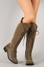 Women Water-S Distressed Military Lace Up Knee High Boot unique stylish Boots