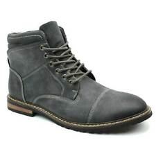 Mens Boot Grey Gray Ankle Cap Toe Derby Modern Lace Up Round Toe By AZAR MAN