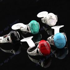 New Vintage 30pcs Antique Silver Mix Turquoise Women Men Rings Wholesale Jewelry