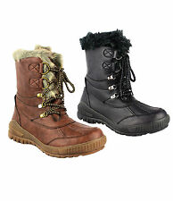 Ladies Womens Mid Calf Lace Up Snow Ski Fur Lined Winter Boot Size 3-8 (Y97)
