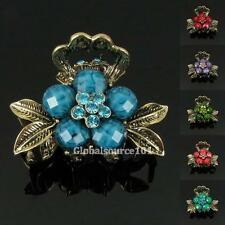 Womens Flower Rhinestone Crystal Resin Small Size Alloy Hair Clips Claws HC065 B