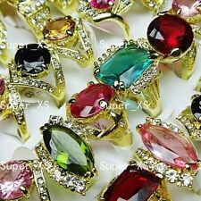 wholesale lots 5-30pcs pretty Cubic Zircon Rhinestones Gold Plated Rings jewelry
