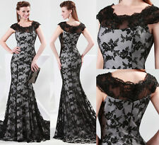 US New Vintage Mermaid Lace Formal Evening Long Ball Gown Party Bridesmaid Dress