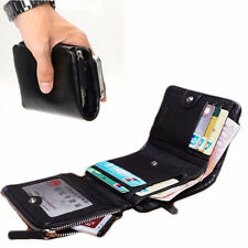 Genuine Leather Mens Clutch Wallet Trifold Zip Coins Buckle Purse Card Holder