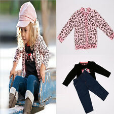 2014 New Spring Kids Girls 3Pieces Pink Leopard Suit Coat+t-Shirt+Jean Outfit