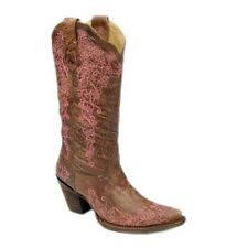 Corral Ladies Tobacco/Pink Embroidery A2771 New