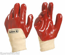 12 Pairs Delta Plus Venitex DA109 Heavy Duty Knitwrist Half Red PVC Gloves 7,8,9