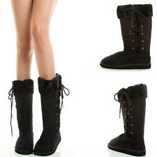 Warm Comfort Fuzzy Shearling Lace Up Mukluk Snow Winter Mid Calf Knee Flat Boots