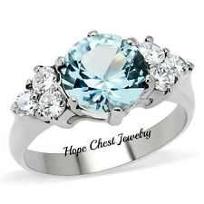 Women's Stainless Steel London Blue and Clear Cubic Zirconia Ring - SIZE 5 TO 10