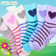 Naartjie Girls Stripes and Heart Cotton Short Crew Socks 6 Pairs Pack NWT