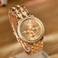 New quality Geneva plated ladies/mens crystal watch in gold/rose/silver + box