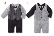 Baby Boys Long Sleeves Christening Wedding Tuxedo Vest Jumpsuit One Piece 0,1,2