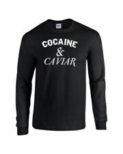 Cocaine & Caviar Hipsters DOPE HYPE WHITE PRINT LONG SLEEVE Men's Tee Shirt 744