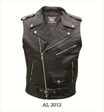 Men's Sleeveless Motorcycle Jacket Premium Buffalo Leather AL2012
