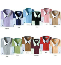 Men's Cotton Blend French Cuff Stylish Dress Shirt 03F2 Solid Contrast Collar