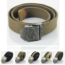 3D Snake King Cobra Stainless Steel Buckle Military Army Mens Womens Canvas Belt