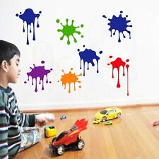 7 Paint Splash Vinilo El Arte De Pared Calcomanías Stickers Mural de plantilla de tienda decoración Color Dot