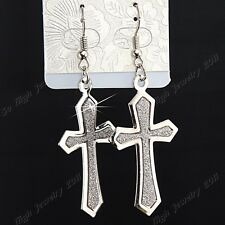Religion 6-12Pairs Silver P Frosted Fashion Women Cross Drop Earrings Wholesale