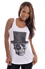 Skull With Hat Mr Skull Vest Tank Top Womens %100 Cotton White S M L Size