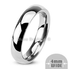 4mm Wide Stainless Steel 316L Classic Comfort Fit Wedding Ring Band Size 4-13