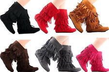 Womens Mid Calf Faux Suede Fringe Beaded Tassle Moccasin Dress Boots Six Colors