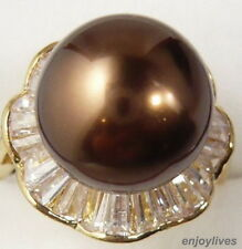 Chocolate Brown South Sea Shell Pearl Crystal Flower Golden Ring Size: 7.8.9