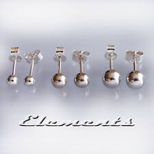 925 Sterling Silver 3mm 4mm 5mm 6mm Small Round Ball Stud Earrings 3 Pairs