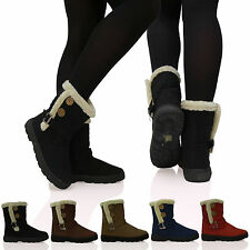D1Y WOMENS QUILTED FUR LINED 2 TWO BUTTON LADIES FASHION SNOW ANKLE BOOTS SHOES
