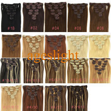 "New 15""18""20""22""24""26""Clip in Remy Real human hair extensions Straight any color"