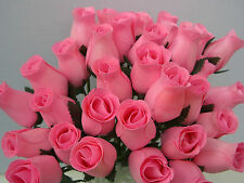 MOTHERS DAY FLOWERS GIFT 4 MUM BABY PINK MODERN HOME DECOR WOODEN ROSES JOB LOT