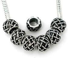 NEW Antique Silver Tone Lattice Pattern Spacer Beads Fit European Charm Bracelet