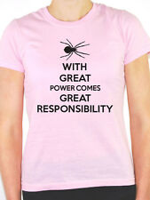 WITH GREAT POWER COMES GREAT RESPONSIBILITY - Superhero Themed Womens T-Shirt