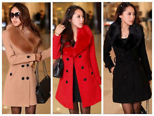 2014 Women's Wool Faux Fur Trench Parka Double-Breasted Winter Coat Jacket