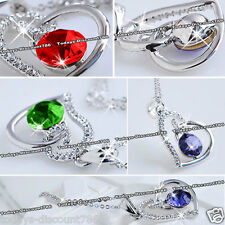 Heart Necklace Crystal Diamond Love Present Wife Daughter Sis Xmas Gift For Her