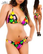 Womens Swimwear swimsuit bikini scoop Hi leg string halter Tropical print L XL