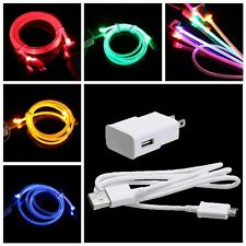 Travel Wall Charger LED Light Cable For Samsung Galaxy S4 S3 Note 3 2 Iphone 5 4