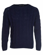 New Mens Republic Crafted Denim Cable Knit Jumper Sweater Casual Formal S M L XL