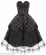 HELL BUNNY LAVINTAGE BLACK GOTH VICTORIAN STEAMPUNK MOURNING WEDDING DRESS 8-20