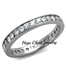 WOMEN'S SILVER TONE AAA CZ STACKABLE ETERNITY WEDDING BAND RING SIZE 5 - 9
