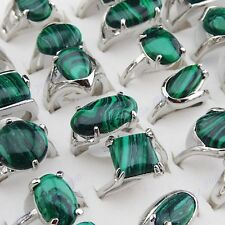 10P-50pcs Vintage Jewelry Mix Green Malachite Stone White Gold P Women Men Rings