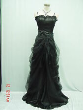 Cherlone Satin Black Lace Long Wedding/Evening Ball Gown Formal Bridesmaid Dress