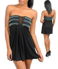 Sexy WOMENS Dress Coverup Summer Sun Mini Strapless Smocked embroidered S M L