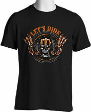Biker T-shirts Harley Hog Let's Ride Motorcycle Mens Size S-3XL Big and Tall
