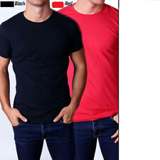Mens T shirt Tee  2 Pack Black & Red  Plain Blank Crew Neck Cotton Size S - 2XL